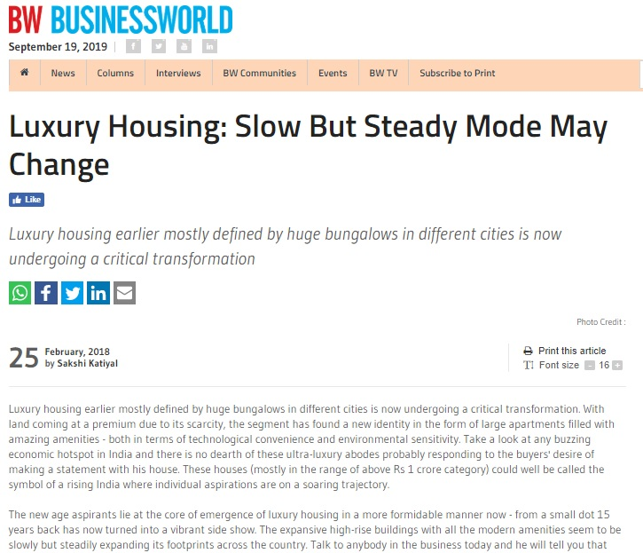 Luxury Housing: Slow But Steady Mode May Change
