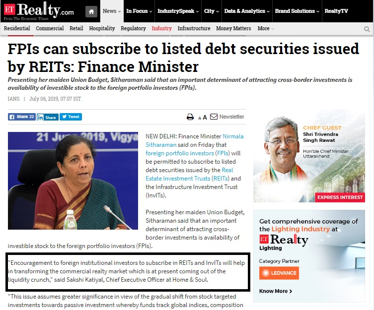 FPIs can subscribe to listed debt securities issued by REITs: Finance Minister