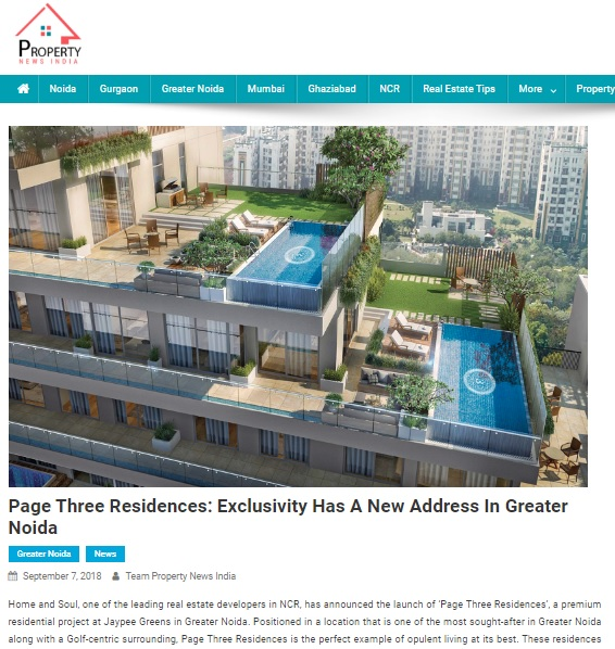 Page Three Residences: Exclusivity Has A New Address In Greater Noida