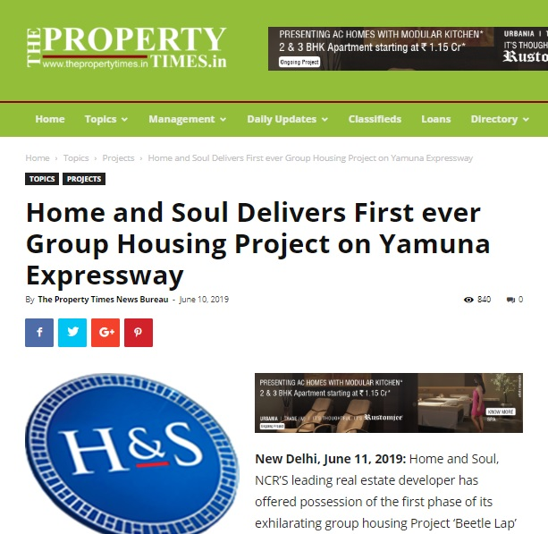 Home and Soul Delivers First ever Group Housing Project on Yamuna Expressway