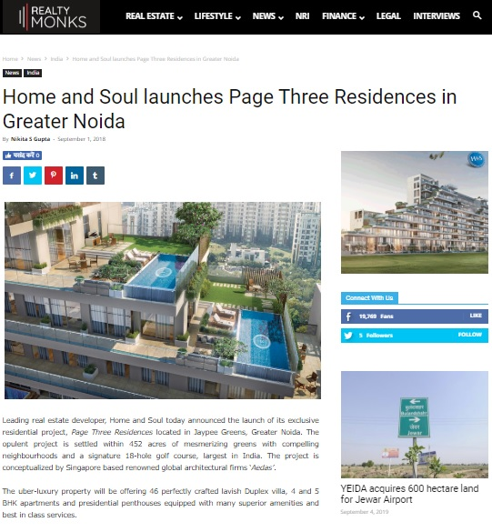 Home and Soul launches Page Three Residences in Greater Noida